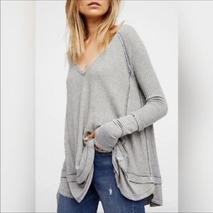 Free People Grey Laguna Thermal Long Sleeve Top